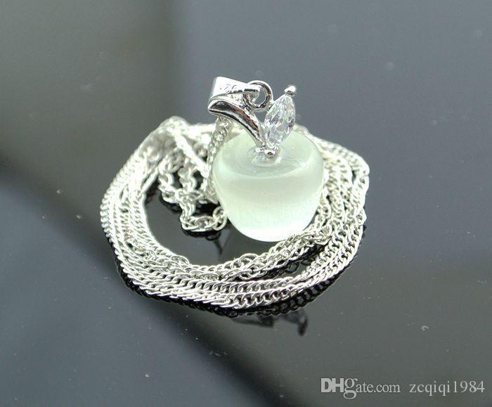 مصغرة لطيف أبل جودة العقيق قلادة قلادة الروديوم الأزياء والمجوهرات الفضة سليكات الألمنيوم قلادة قلادة دفعة مختلطة