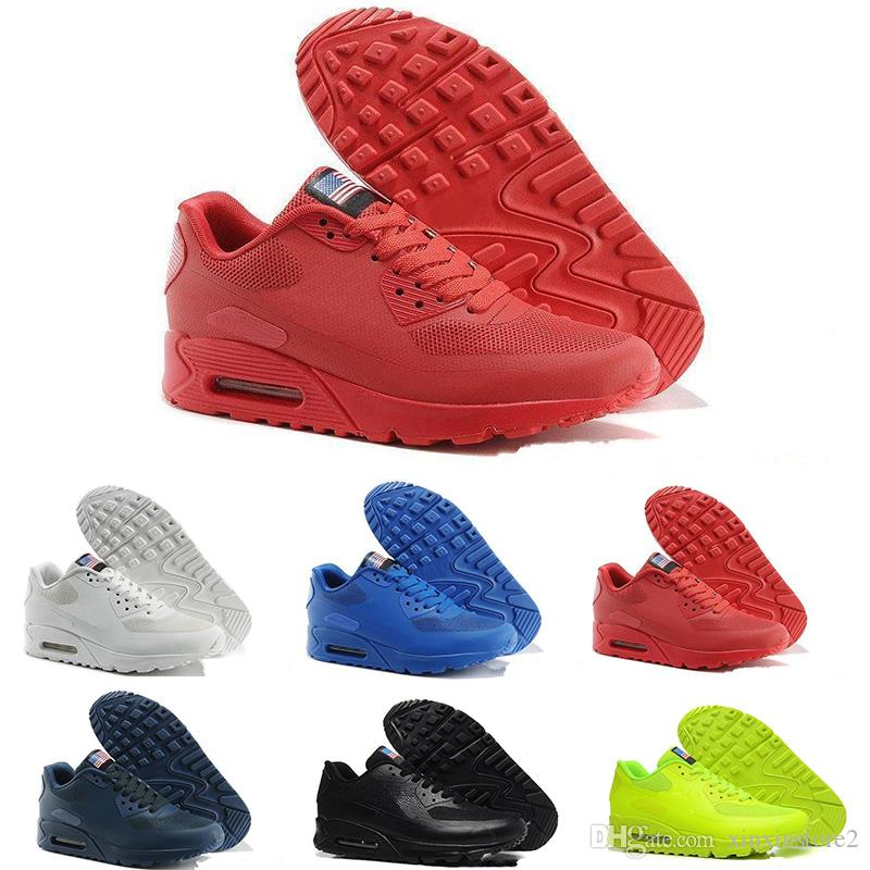 cheap for discount 3b5ae fca48 Acheter Nike Air Max Airmax 90 2017 Hommes 90 HYP PRS QS Sneakers Independence  Day Homme Casual Chaussures De Course Zapatillas USA Drapeau Taille 40 46  De ...