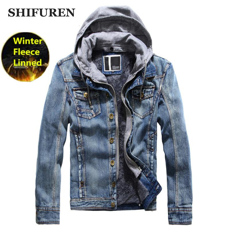 ee2a3ffbbc SHIFUREN Winter Mens Fleece Jeans Jacket Thicken Warm Hooded Outerwear Male  Causal Cotton Denim Jacket Coat Hat Detachable Hockey Columbus Ohio Jackets  And ...