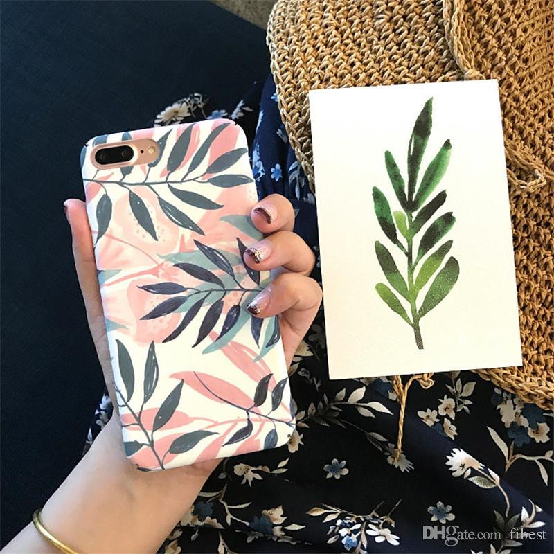 Artistic Leaf Stripe Phone Case For iPhone X 6 7 8 Plus 6S Shockproof Frosted Hard Bags Embossed Leaves Back Cover