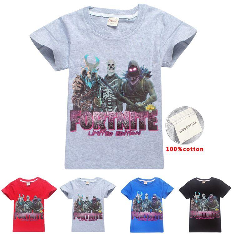 cdcfe8ba61ff5 Acheter Enfants Fortnite T Shirt 100% Coton 4 Couleurs 6 ~ 14 Ans Fortnite  Imprimé Enfants T Shirt Été Manches Courtes Enfants Vêtements DHL LA952 De   6.08 ...