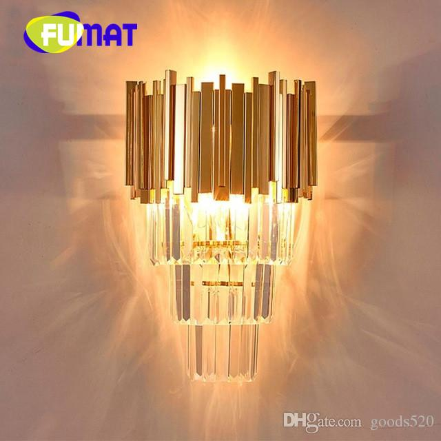 Creative crystal wall lamp irregular art fashion design villa bedroom bedside light