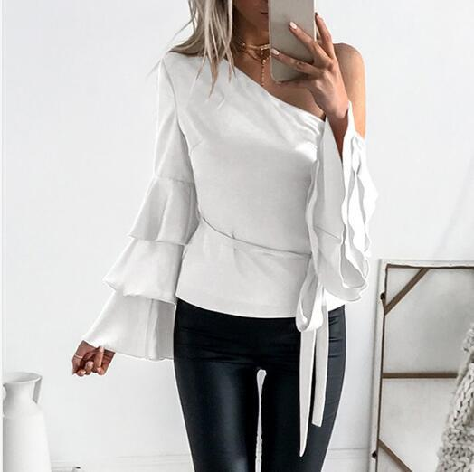 7ab67b571cd 2019 Sexy One Cold Shoulder Butterfly Sleeve Blouse 2018 Autumn ...