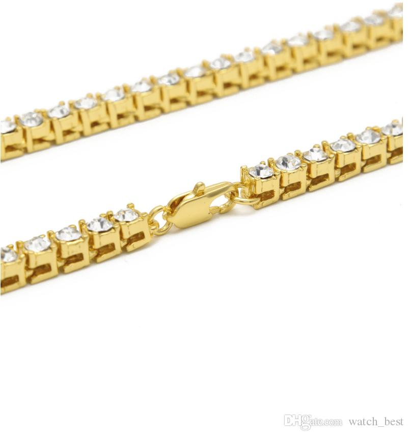Fashion Luxury Mens Chains Hip-Hop 1 Row Alloy Necklace Full Rhinestone Single Row Men Necklace European and American Jewelry