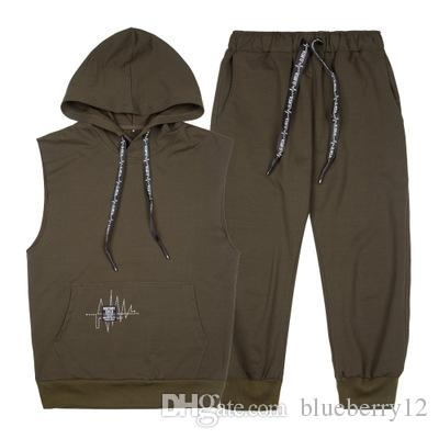 Summer New Fashion Mens Tracksuit Men Short Sleeveless Pullover With Casual Capri Jogger Pants Suits Homme Sportsuit