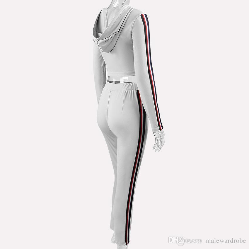 Trajes deportivos de punto para mujer Chándales grises negros Sudaderas con capucha cortas casuales Jerseys Pantalones largos 2 piezas Conjuntos Trajes de pantalones de chándal
