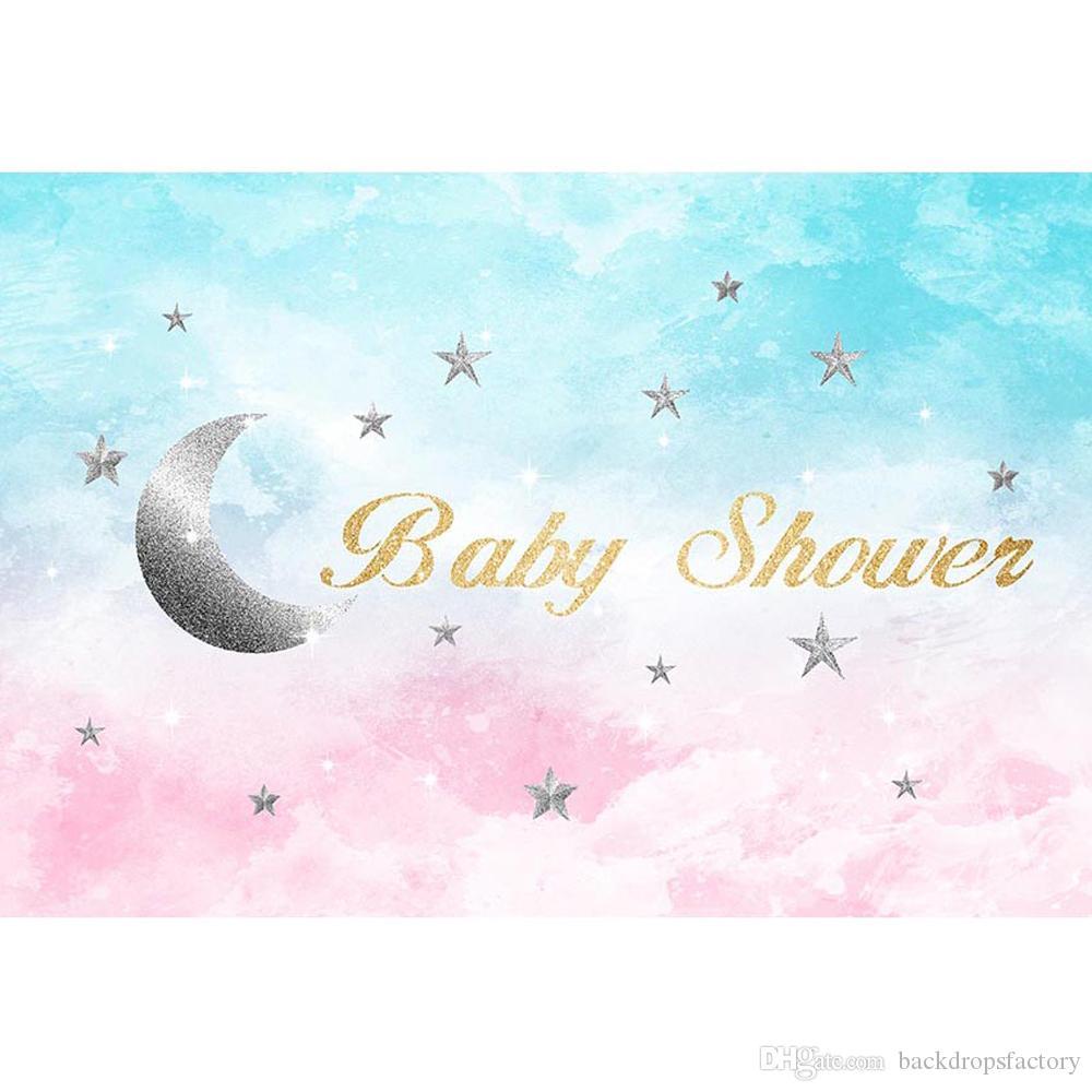 Pastello Blu E Rosa Cielo Grigio Stelle Crescent Moon Party Fondale Stampato Neonato Puntelli Per Bambini Bambini Photo Shoot Sfondi