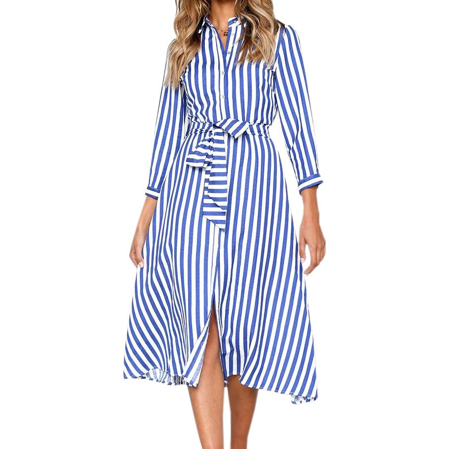 b8a5b23bf93a3 Vintage Femme Midi Dress Lady Office Elegant Autumn Dresses Female Blue  Striped Dress Long Sleeve Buttons Sashes Overalls M0030