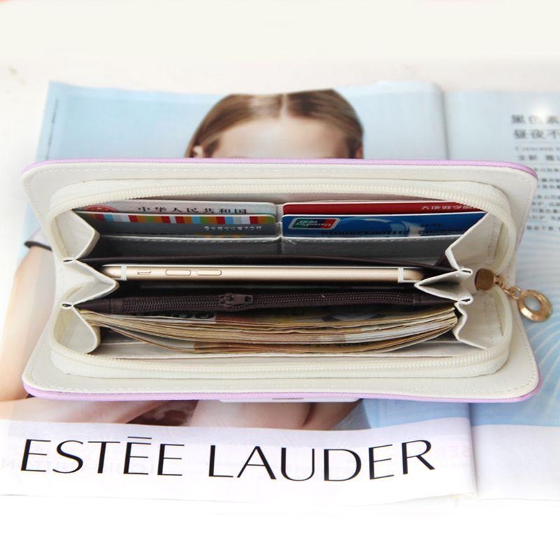 2017 weibliche PU Leder lange Reißverschluss Geldbörsen Frauen geldbörsen Kartenhalter handytasche Für Mädchen mode dame Frauen kupplung Brieftasche