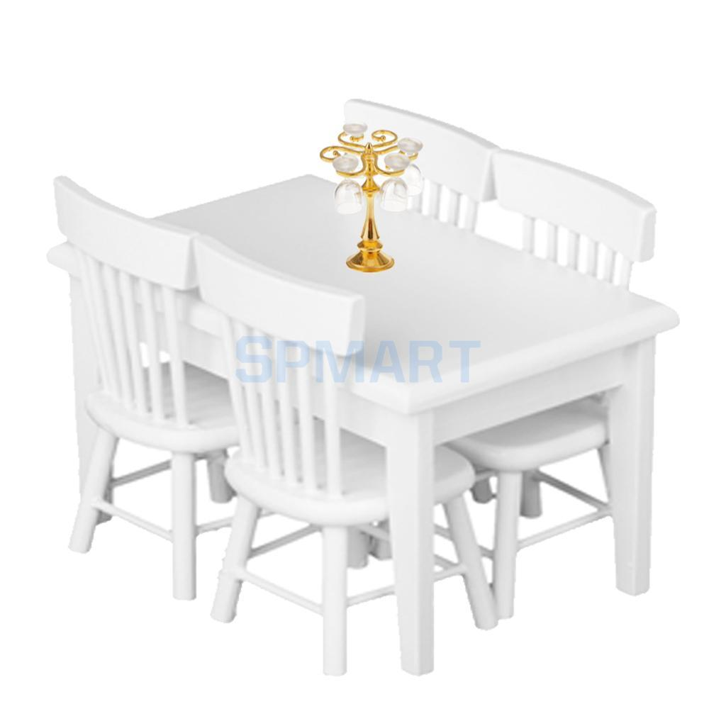 1 12 Dollhouse Miniature Wooden Dining Table Chair Set Goblet