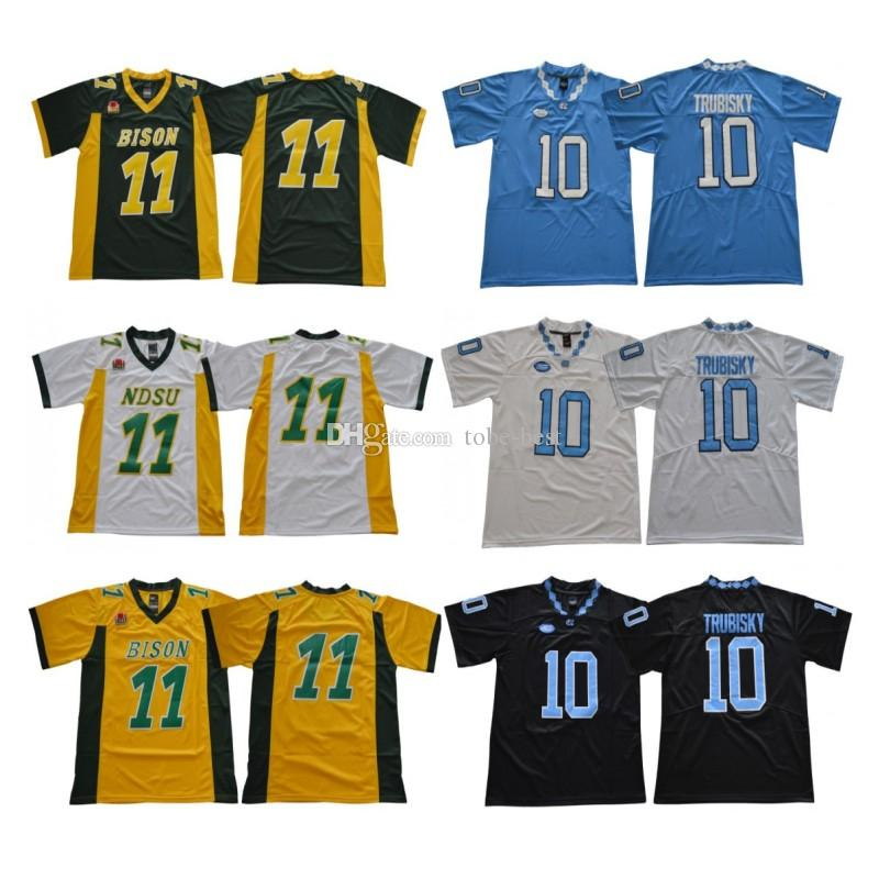 size 40 682b1 2ff2f NCAA North Carolina College 10 Mitch Trubisky Jersey Blue White Black North  Dakota State Bison 11 Carson Wentz Green Yellow Football Jerseys