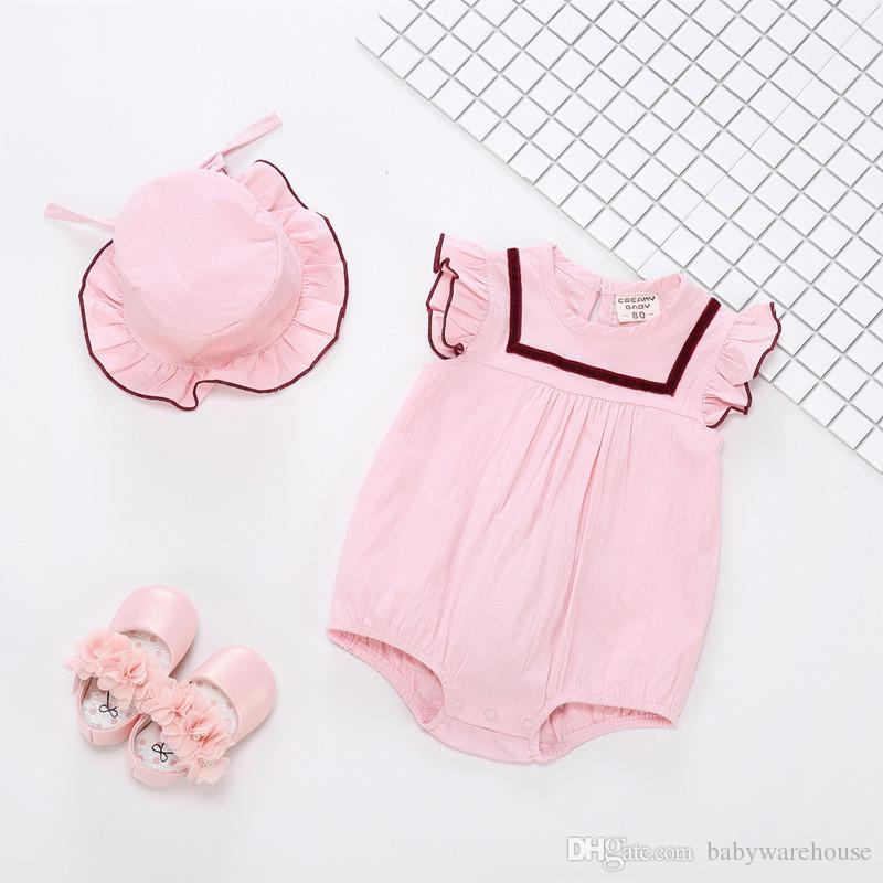d6e352a7a21 2019 Baby Rompers Summer Baby Girl Clothes 2018 Newborn Clothes Cotton  Infant Jumpsuits With Hat Girls Clothing Fashion Baby Onesies From  Babywarehouse
