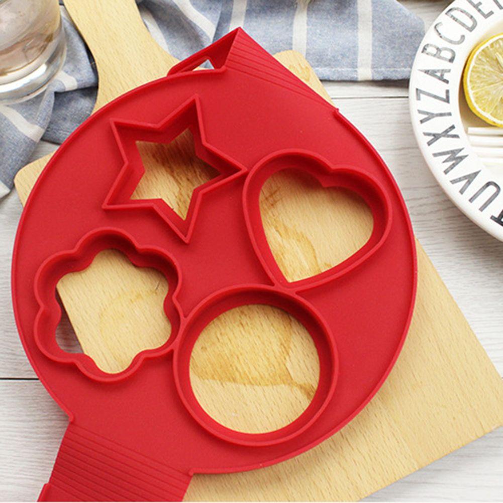 4 Holes Nonstick Pancake Maker Silicone Frying Eggs Pancake Mold Flower Round Star Heart Shape Egg Ring Kitchen Tools