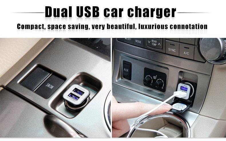 2018 nouveau chargeur de voiture 12v 3.1a double chargeur de téléphone portable usb 2usb pour Android et iOS téléphone intelligent