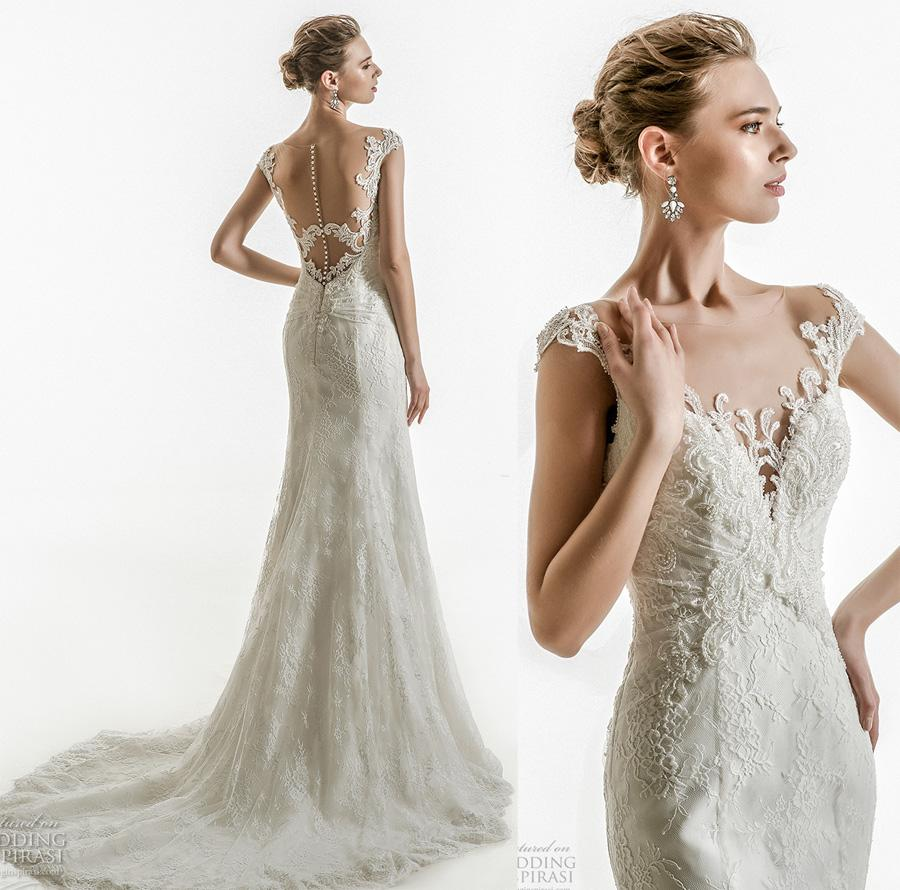 Elegant Sheath Sheer Button Back Chapel Train Wedding Dresses 2018 ...