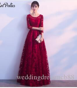 PotN Patio Red Lace Evening Dresses Elegant O-neck 3/4 Sleeves A-line Long  Formal Evening Gown Plus Size Customized
