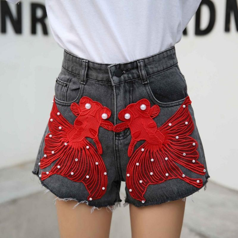 1515a3f337 2019 2018 Summer High Waist Shorts Jeans Girls Hole Ripped Denim Shorts  Beading Embroidery Pattern Hot Pants Female Size From Odelettu, $43.55 |  DHgate.Com