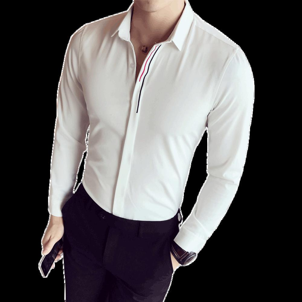 2881c244287d 2018 Fashion Men Pure Color Lapel Shirt Male Business Casual ...