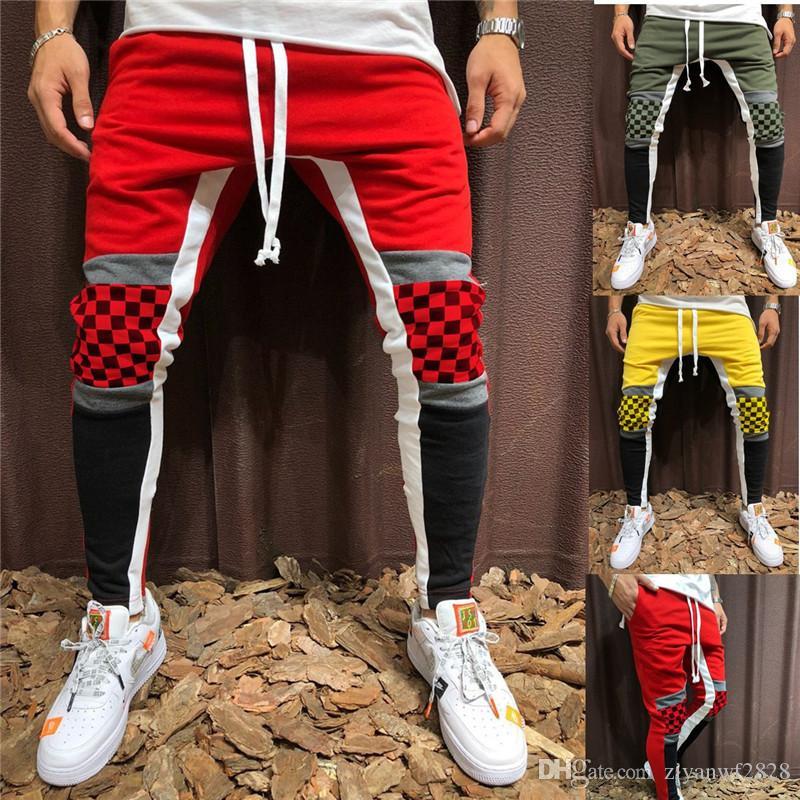 Men Pencil Pants Joggers Sweatpants Mens Patchwork Pants Men Casual ... efcd5397a72