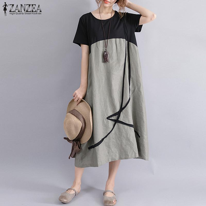 2a978e0cffb Plus Size ZANZEA Women Casual Summer O Neck Short Sleeve Pockets Party Baggy  Midi Dress Loose Splice Linen Beach Shirt Vestido D1891305 Cute Party Dress  ...