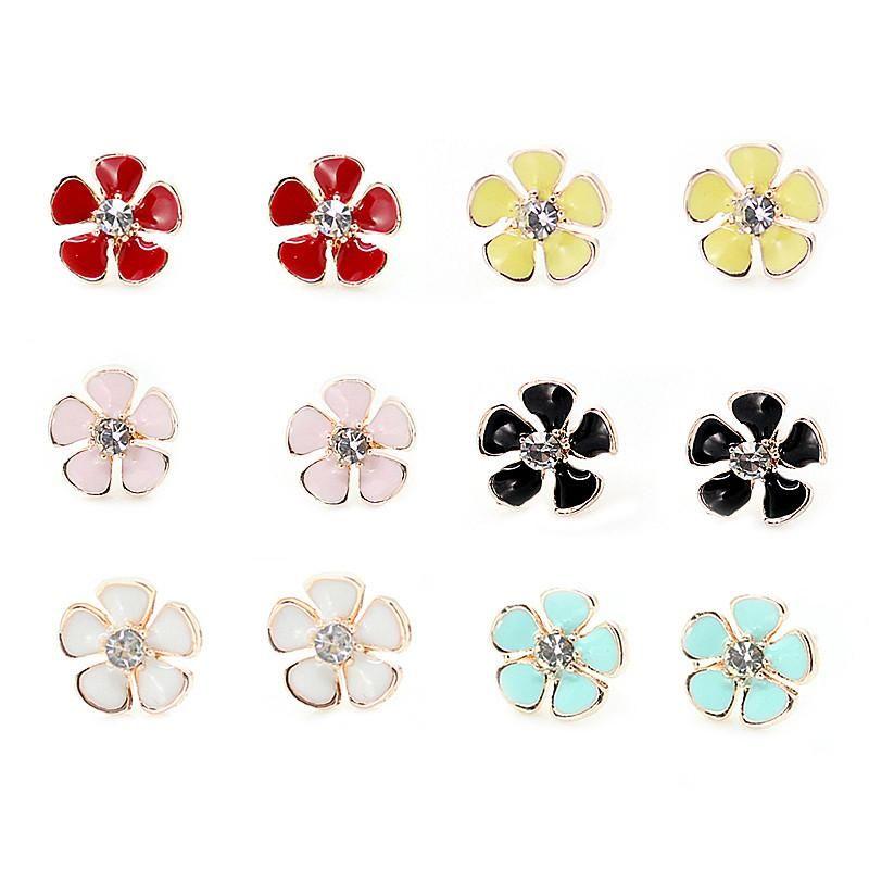 8c1cfbede Claire Fashion Accessories Stud Earring Pack Enamel Alloy Different Colors  Little Flower Crystal Stud Earrings for Children Girls Ear Rings Little  Flower ...