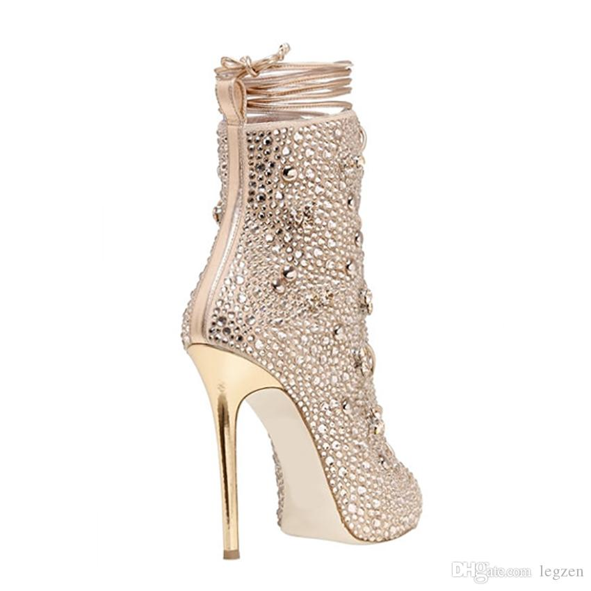 Legzen Hot Sale Women Ankle Boots Spring Fall Stylish Rhinestone Peep Toe Thin High Heels Boots Shoes Woman Gold Silver Plus US Size 3-10.5
