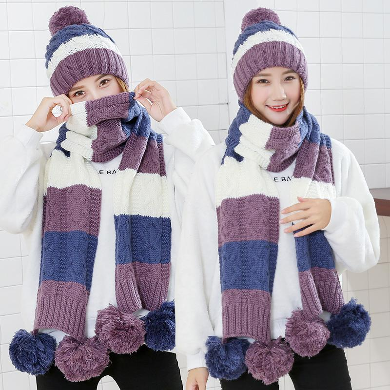 adc7e8286ba24 Colorful Knitted Warm Hat Scarf Sets 2018 Autumn Winter Knitted ...
