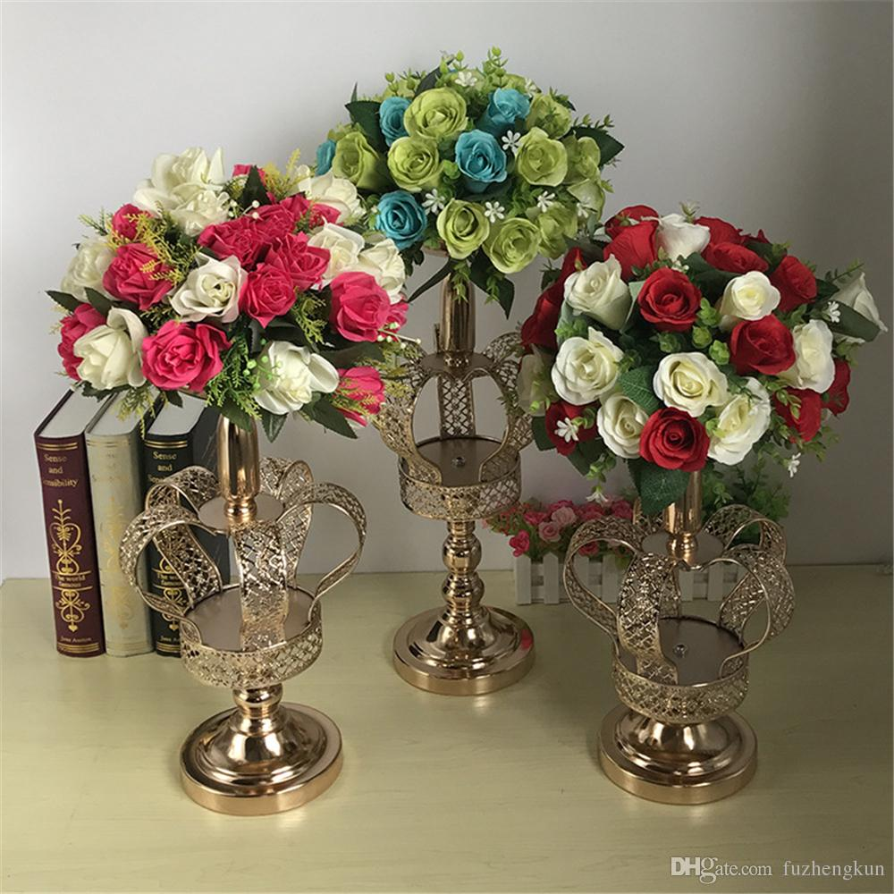 Metal flower vases gold crown shape vase fashion wedding exquisite metal flower vases gold crown shape vase fashion wedding exquisite table flower rack christmas party home decoration small ceramic vases small cheap vases izmirmasajfo