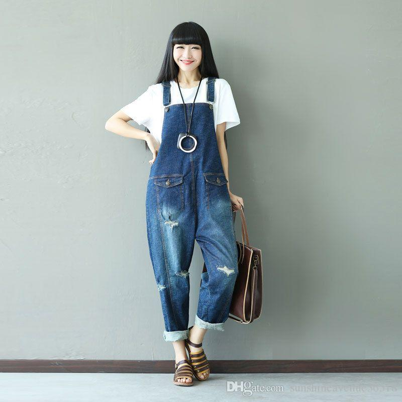59ca7f3a8c0 2019 2018 Blue Denim Jumpsuits Women Bleached Holes Loose Denim Overalls  Rompers Female Cute Vintage Denim Harem Trousers From Sunshineavenue36518