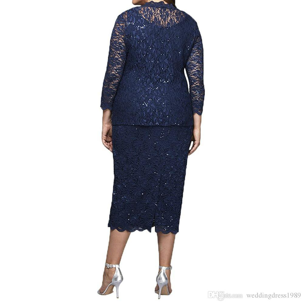Plus Size Lace Short Mother Formal Wear With Wrap Mother of groom Wedding Guest Dress Evening Mother Of The Bride Dress Suit Gowns