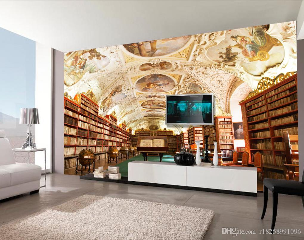 Home Improvement 3d Wallpaper For Room European Style 3d Stereoscopic Library Backdrop Mural 3d Wallpaper 3d Customized Wallpaper Wallpapers