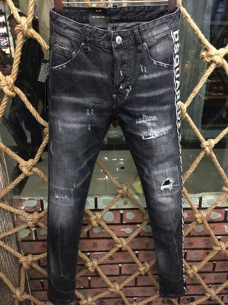 Black Leather Biker Jeans Men Runway Biker Homme Jeanswear Skinny Slim Denim Trousers Cowboy Famous Brand Zipper Designer Men's Moto Pants