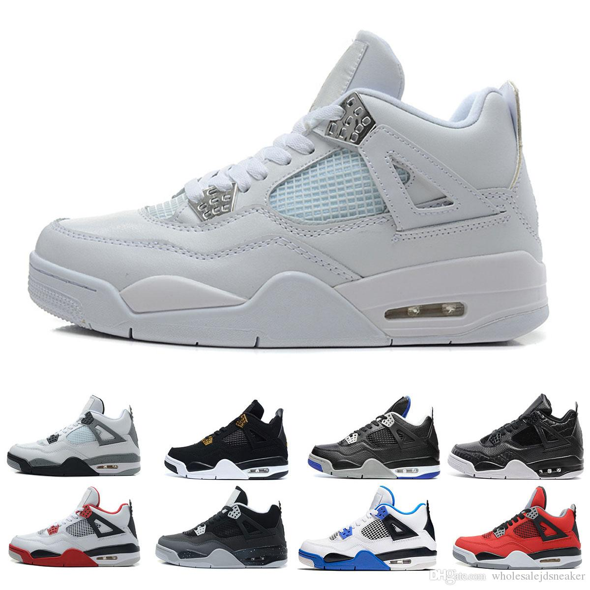 a55505c2e11 2019 4 4s Basketball Shoes Men Pure Money Tattoo White Cement Raptors Black  Cat Bred Fire Red Mens Trainers Sports Sneakers Size 7 13 Discount Shoes  Online ...