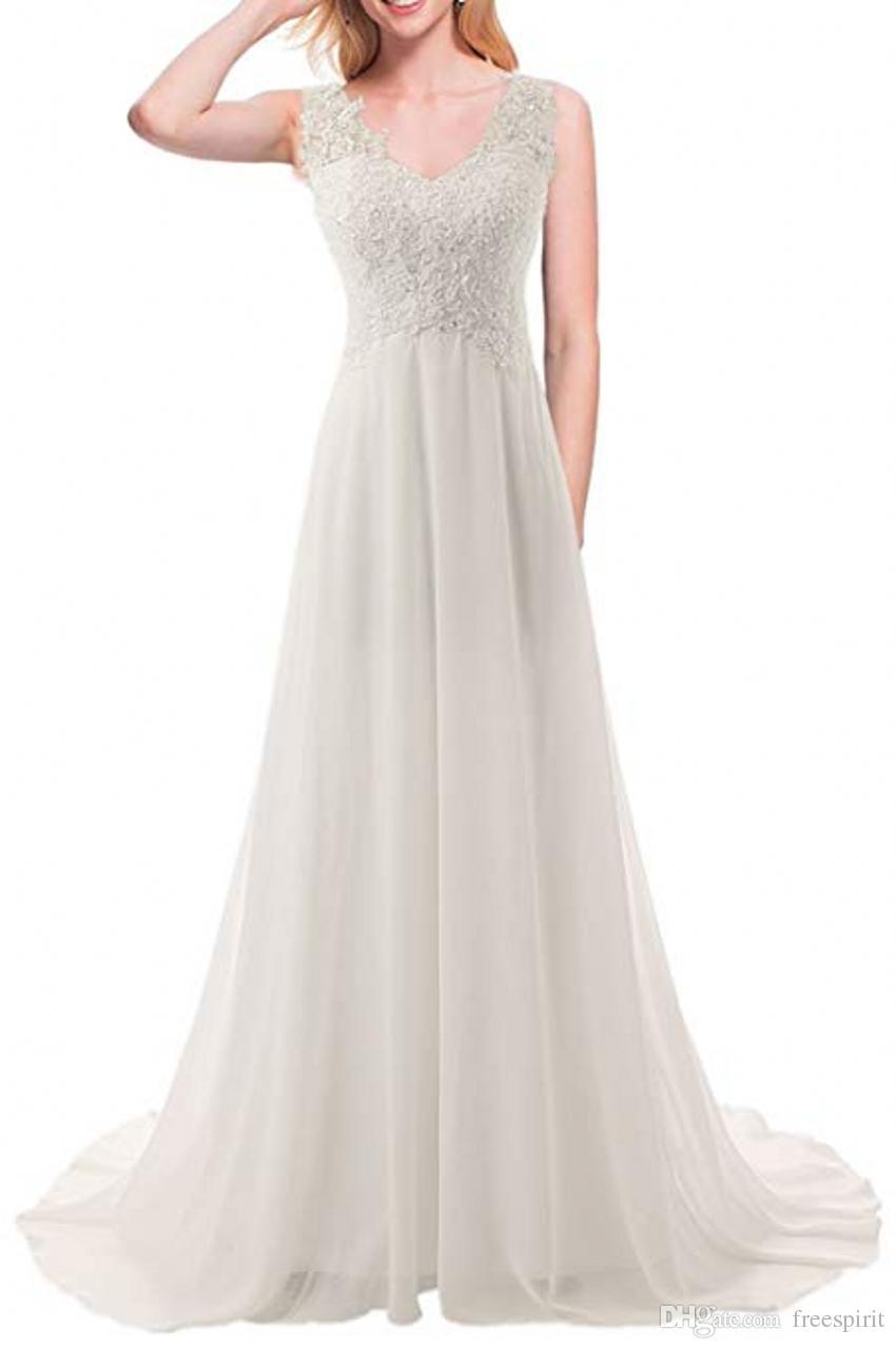 7a07fc69ae6 Discount New Empire Bohemian White A Line Wedding Dresses Maternity  Backless Chiffon Summer Beach Pregnant Bridal Gowns Beach Wedding Gowns  Beautiful Bridal ...