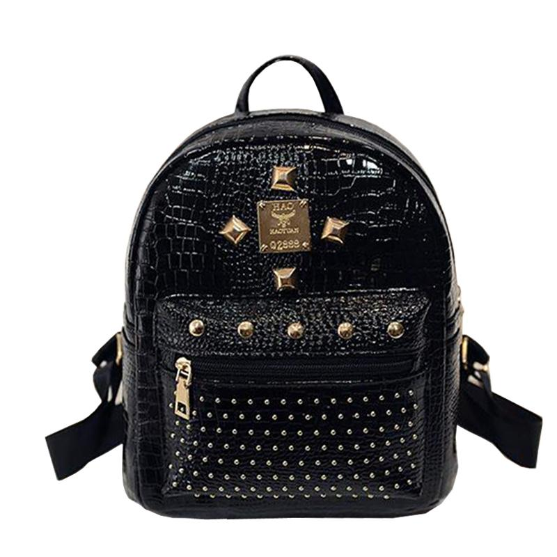 bf968f8e07 2017 New Fashion Rivet Backpacks Crocodile Women School Bags For Teenagers  Girls Mini Pu Leather High Quality Backpack Sac A Dos Swissgear Backpack  Swiss ...