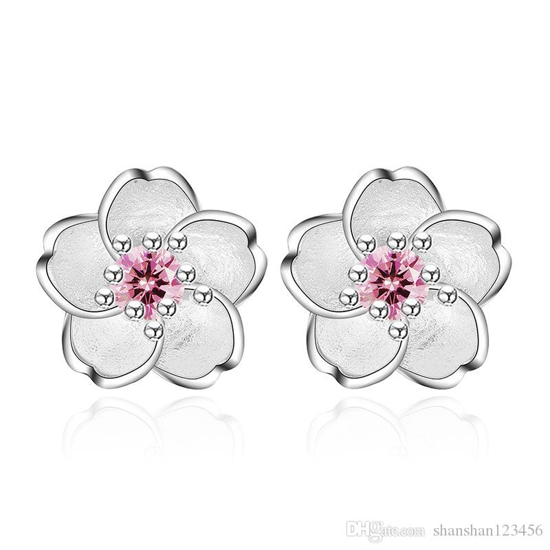 847249da7 2019 Lovely Fashion Jewelry Cute Cherry Blossoms Flower Pink CZ Stud  Earrings For Women Several Peach Blossoms Wedding Earrings Drop Ship 350042  From ...