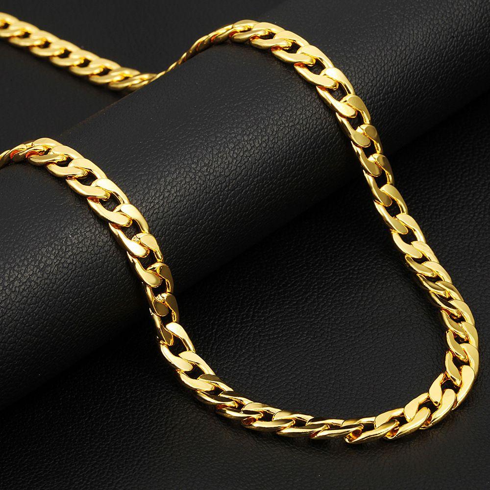 52ca0c0cfd35 Compre Cadena De Oro De 18 Quilates De Largo Vintage Para Hombre Cadena De  Collar De Oro De Nueva Moda Collares De Oro Grueso De La Joyería Collares  ...
