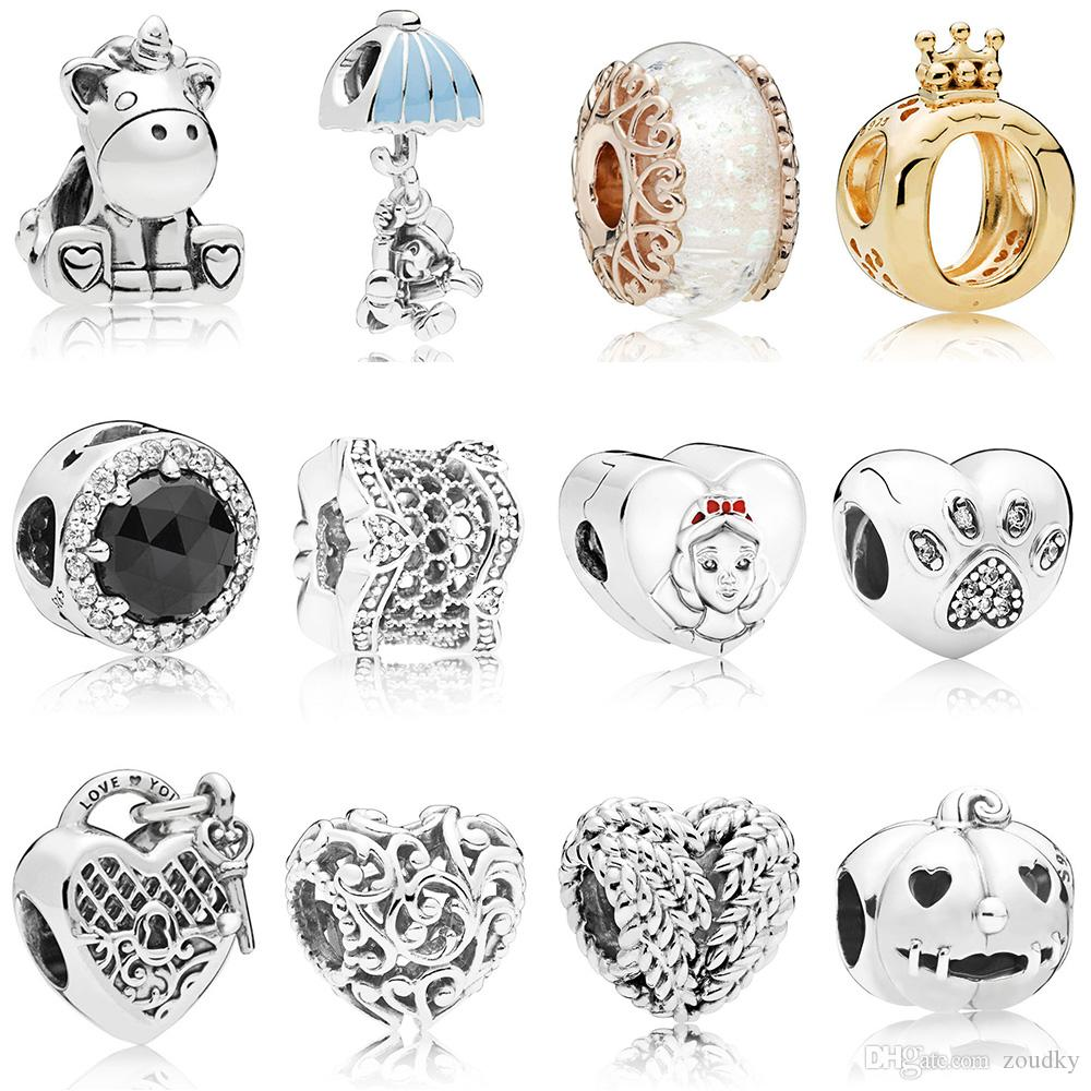9a52bb0c7 ZOUDKY NEW 100% 925 Sterling Silver Bead Regal Hearts Unicorn Charm ...