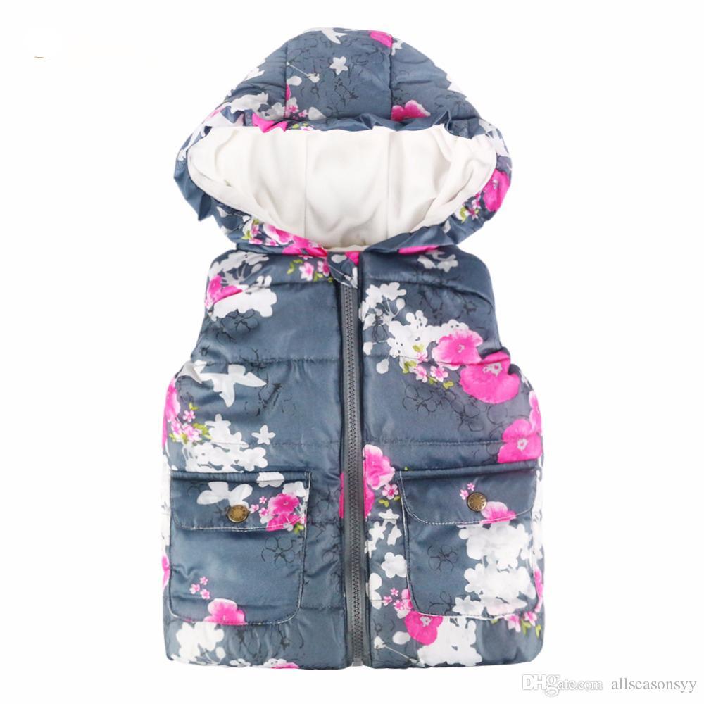 6107e11b0 2018 Girls Vest Warm Coat Baby Floral Autumn Waistcoat Children ...