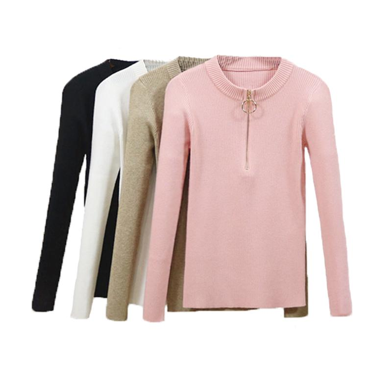 4d991f13ac New Autumn Slim Knitted Sweater Women Chic Zipper Pullover Sexy Sweater O  Neck Long Sleeve Female Pullovers Online with  36.1 Piece on Bibei04 s  Store ...