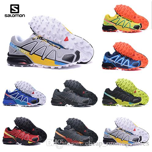 purchase cheap 4045b a9a45 Acheter 2018 Salomon Chaussures Hommes Speed Cross 4 CS Chaussures De Cross  Country Outdoor Livraison Gratuite Noir Blanc Escrime Tennis Espadrille ...