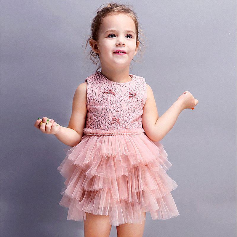 da11e553de6c 2019 Elegant Girls Dresses Pearls Princess Summer Lace Tutu Dress ...