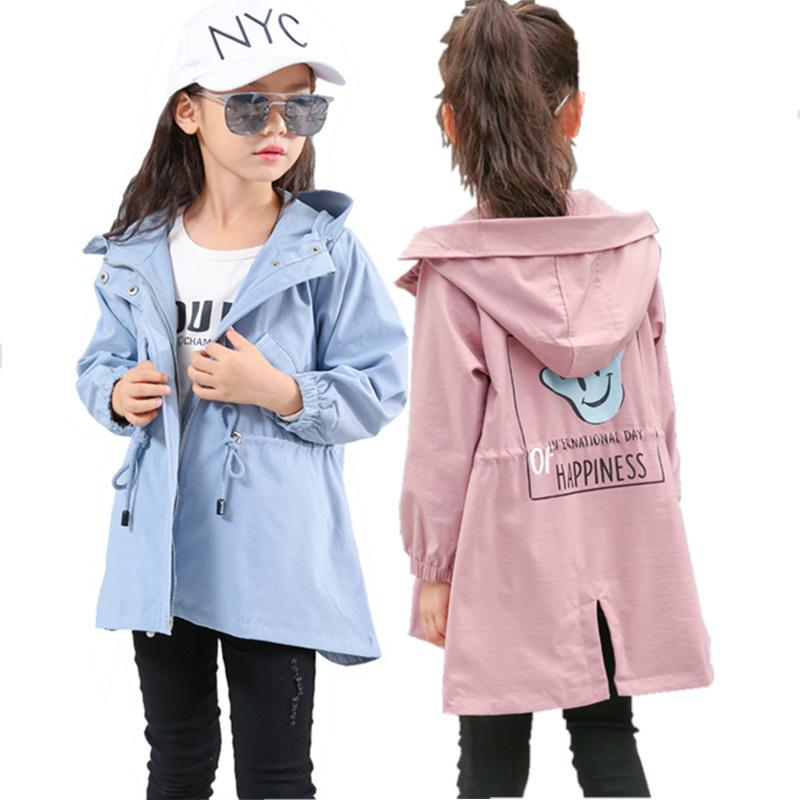 Trench Coat for Babygirl Jacket Spring & Autumn New Hot Fashion Preppy Style Hooded Windbreaker for Child Clothes Teens Outwear