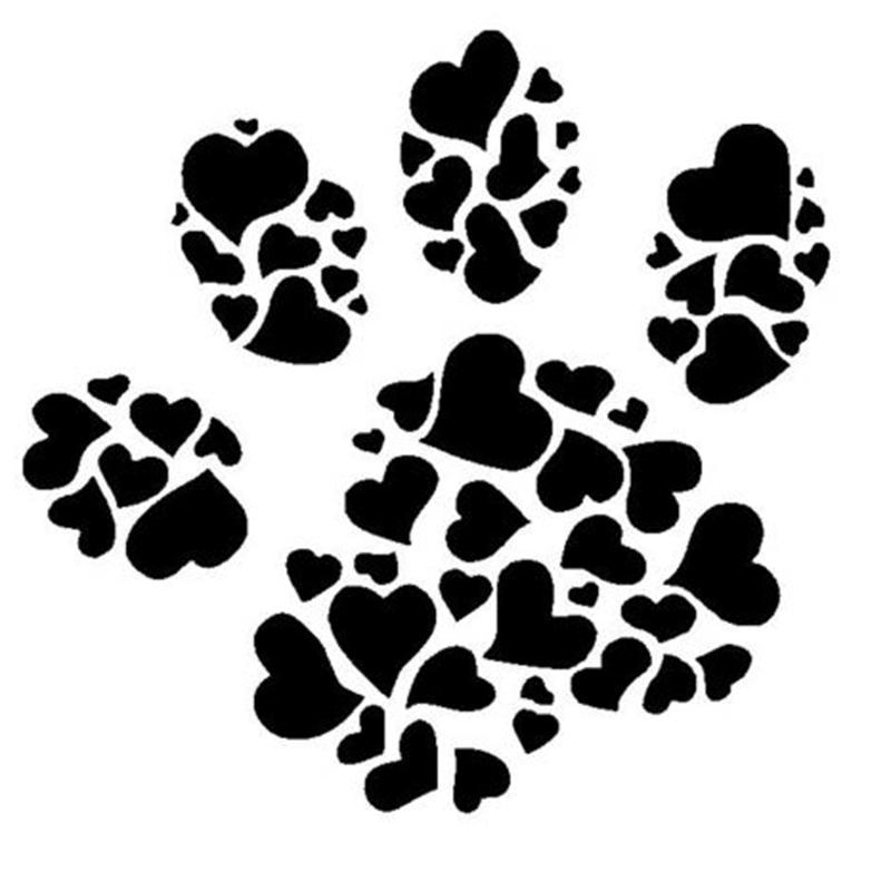 2019 Warm And Romantic Dog Paw Print Made Of Hearts Car Truck Laptop
