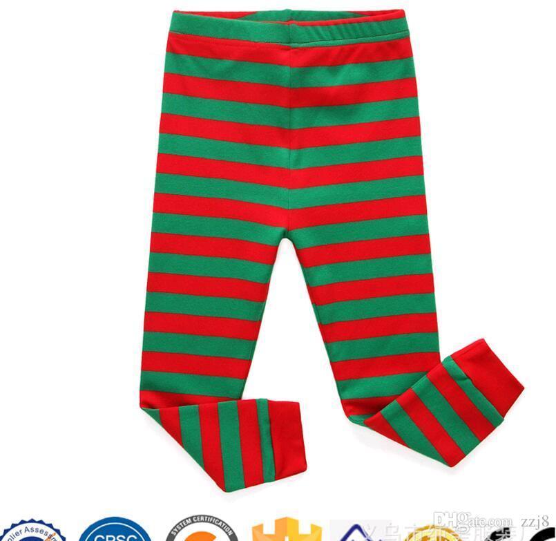 Yeni Varış Pijama Erkek Kız Kırmızı Yeşil Şerit için Set Christas Pijama Pijama Takım Üst ve Pantolon fit 2-8 Çocuklar