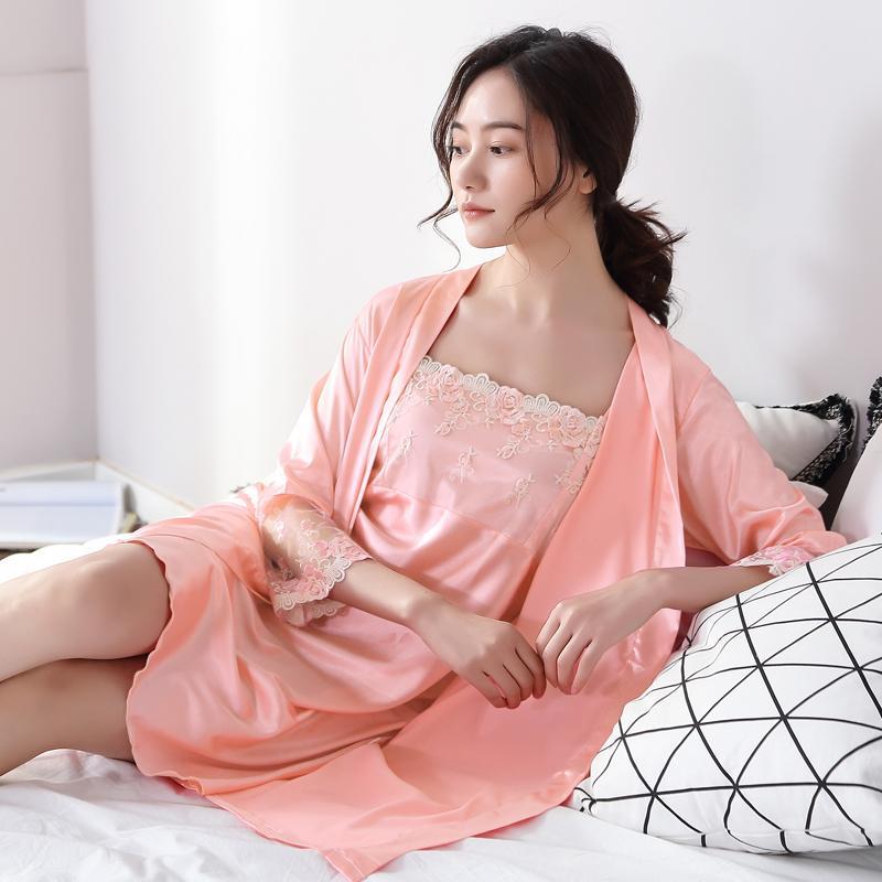 2019 Two Pieces Women Robe   Gown Set Lady Night Dress Bathrobe Sleepwear  Nighties Lace Silk Lingerie Homewear Kimono Plus Size From Sweatcloth edf7f7c0f