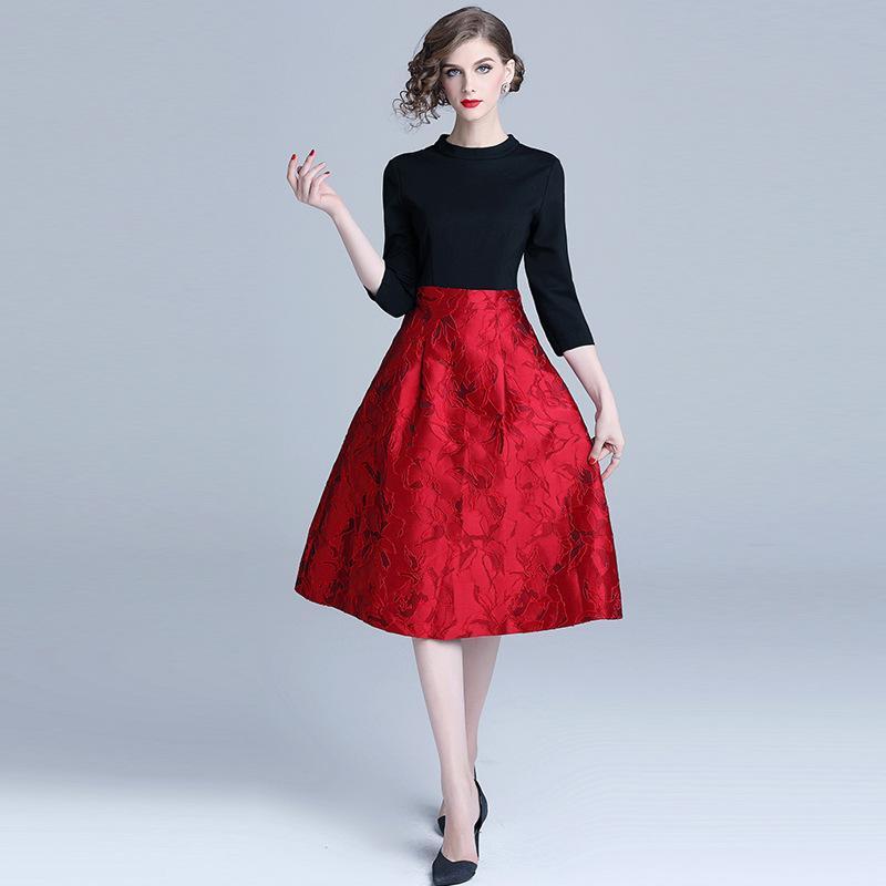 1fc7080794b59 Compre Elegante Vestido Para Salir Vestidos Delgados De Cintura Alta Para  Las Mujeres Vintage Jacquard Weave Casual Una Línea De Vestidos A  49.15  Del ...