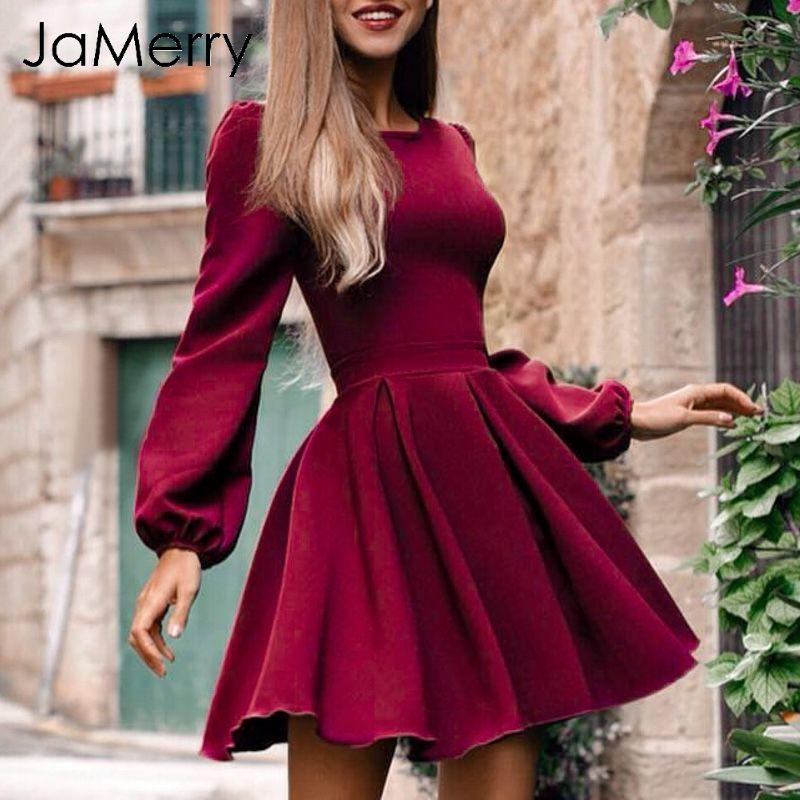 e32fc97dfb15 JaMerry Vintage Long Sleeve Short Party Dress Women Elegant Casual High  Waist Pleated Dress Sexy Slim Winter Female 2018 Lulu Party Dresses 4  Evening ...