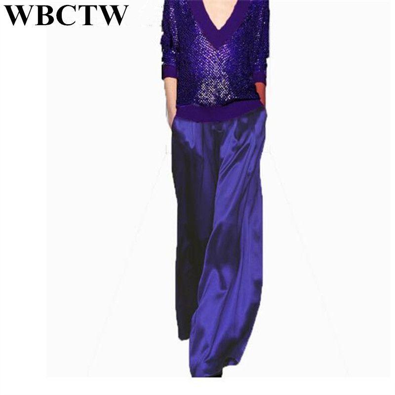 Pantalones de mujer XXS-7XL Tallas grandes personalizadas de moda Sólido Cintura alta Pantalones de verano de satén para mujeres Pantalones sueltos