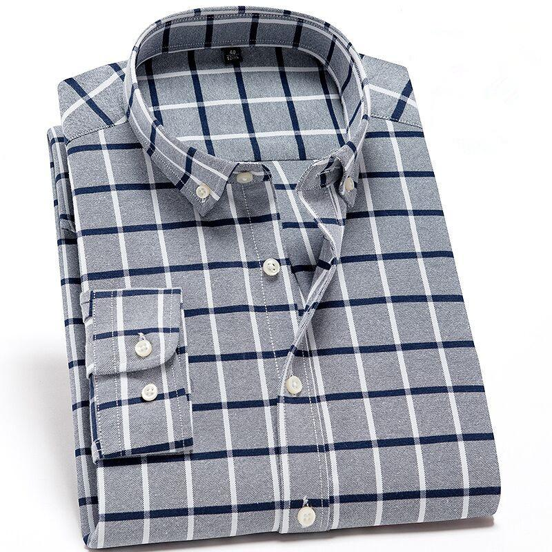 8b9aaf73d89 2019 Men S Shirts Plaid Striped Cotton Oxford Men Dress Shirts Long Sleeve  Casual Classic Contrast Slim Fit Male Button Down Shirt From Bida Amy